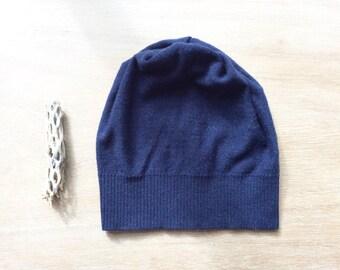 Merino hat in Navy Blue, beanie- women's hat, knit hat, present for her