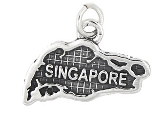 Sterling Silver Map of Singapore Travel Charm