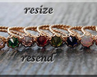 Resize / Resend, Resize any item at no charge, Shipping to cover resized item