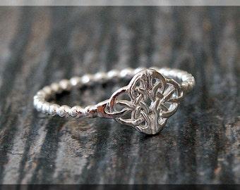 Celtic Knot Stacking Ring, Sterling Silver Ring, Stacking Jewelry, Celtic Jewelry, Celtic Stackable Ring, Elegant Ring, Irish ring