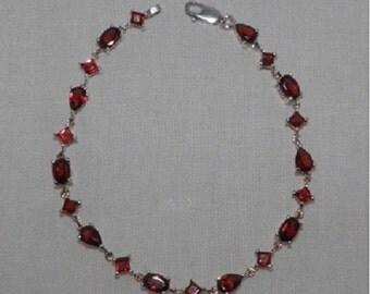 """6.40ctw Garnet Sterling Silver Bracelet, Size 7.25"""""""