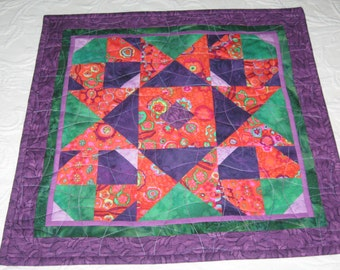 Quilted Small Table Topper, Contemporary Kaffe Fassett Print with Orange Green Purple #3