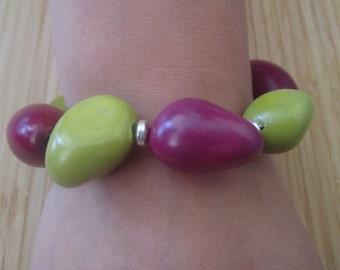 Vegetable ivory or Tagua nut & sterling silver elasticated bracelet handmade