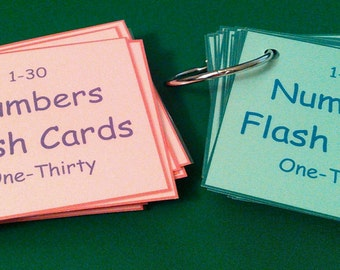 Numbers Flash Cards, Laminated, Number Cards, 1-30, Laminated Flashcards, Preschool Learning, Toddler Learning, Kindergarten, Numbers