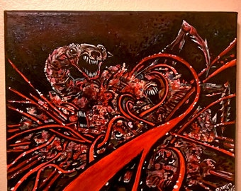 The Thing Dog 8 x 10 original canvas painting