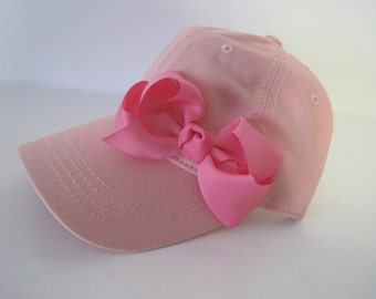 Youth Toddler Light Pink Baseball Cap with a Dark Pink Grosgrain Bow  Baby Hats Youth Baseball Caps Girls Accessories