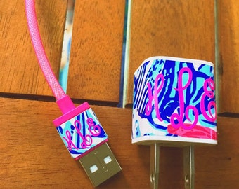 Lilly Pulitzer Inspired Iphone Charger Wraps Monogram Vinyl Decal