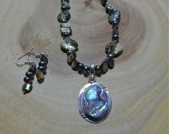 21 Inch Abalone or Puka Shell Necklace with Pendant and Earrings