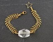 FACETED QUARTZ NUGGET Grecian Bracelet - Solid Brass