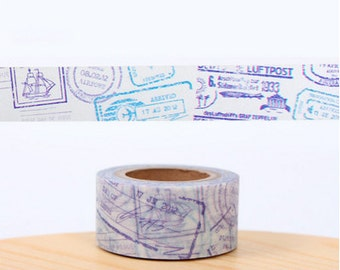 DIY Removable Adhesive Masking Deco Washi Tape - Airmail Stamp (2 cm Width)