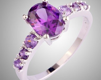Silver 925 Plated Amethyst Gems Look Ring Jewellery