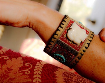 Tribal Leather Cuff with Bali Ribbon, Carved Bone, One of a kind