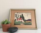 Sale // Cottage 1940s framed embroidery