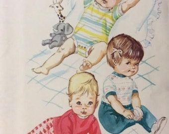 Pattern for Infants Babies Slacks, Rompers, T Shirts UNCUT Kwik Sew 244 Size S M L XL