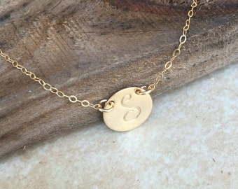 Gold Disc Necklace Personalized Jewelry Custom Hand Stamped Initial Necklace Bridesmaids Jewelry Mother Gift Best Friends Necklace