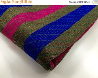 ON SALE Blue pink brown gold green stripes India silk brocade fabric nr. 380