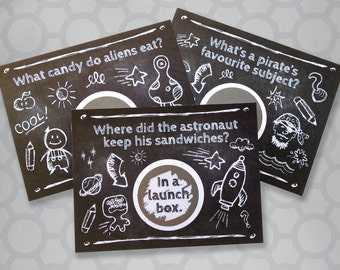 Funny Illustrated Lunch Box Notes Kid's Jokes Scratch Cards