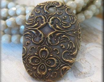 Rustic Handmade Solid Bronze  Pendant- One Unique Piece!