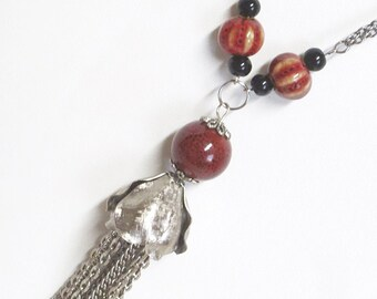 Beautiful Necklace with Silver Tone Vintage Tassel Re-Purposed with Deep Red and Yellow Accent Stones