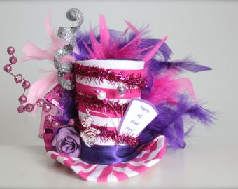 Over the Top Cheshire Cat - We're All Mad Here - Alice in Wonderland Inspired Mad Hatter Tea Party - Mini Top Hat Headband (or Fascinator)