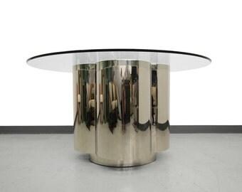 Clover Shape Polished Steel Chrome Dining Table Pedestal