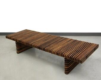 Pacific Green Palmwood Isle D'palm Slat Bench Coffee Table