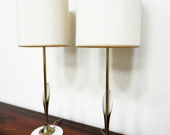 Pair of Mid Century Sculptural Brass Lamps by Laurel Lamp Company