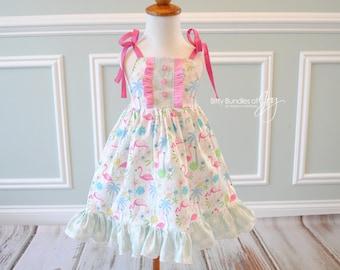 "Flamingo Dress - Tropical Dress - Palm Tree and Flamingo Dress - Flamingo Birthday Dress  -  ""Tropical Island"" Dress - Flamingo Tunic"