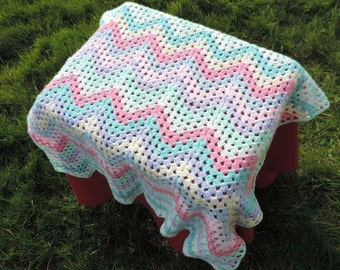 HAND CROCHETED Chevron Baby Blanket , Lapghan, (Ready to Ship)