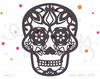 Skull SVG + DXF Cutting File, Day of the Dead, Sugar Skull