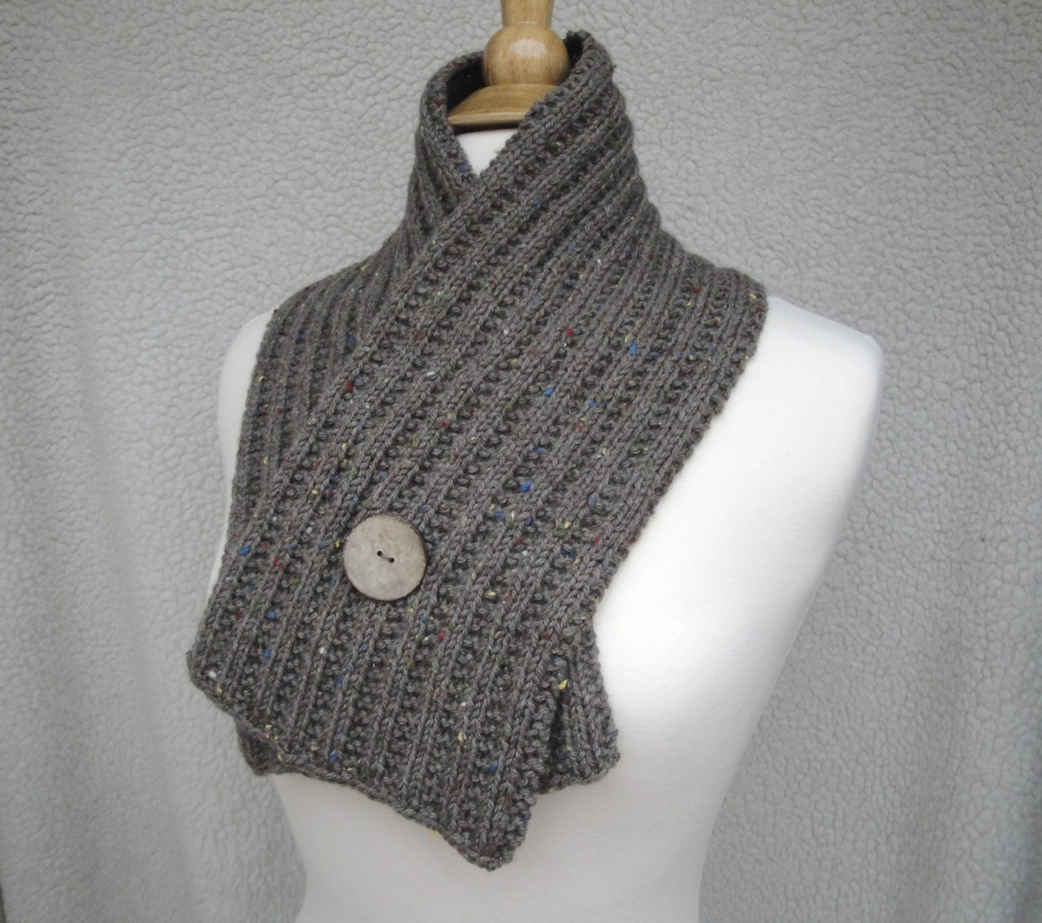 Knitting Pattern For Scarf With Buttonhole : Button Wrap Scarf Knitting Pattern DIY Crossover Scarf Cowl