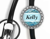 Personalized Stethoscope ID Tag Clip Medical Nurse Home Care with White, Black or Silver Bottle Cap