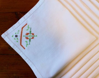 Vintage Linen Napkins Six 6 Hand Embroidered Green Orange Brown Autumn 7 Cross Stitch