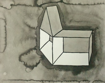 """Black and White Line Drawing 9.5x11.75 """"Open"""""""