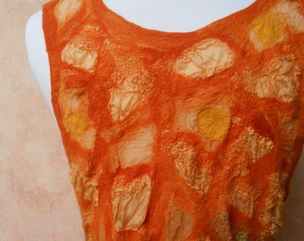 Dreamy Orange Sherbet Mosaic Nuno felt tunic
