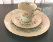 """Gorham Fine China USA 3 pc: 8.5"""" plate, tea cup and saucer"""