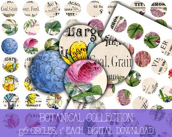 Digital Collage Sheet Download - Botanical Ephemera 1 inch Circles -  1187   for Jewelry Pendants - Instant Download Printables