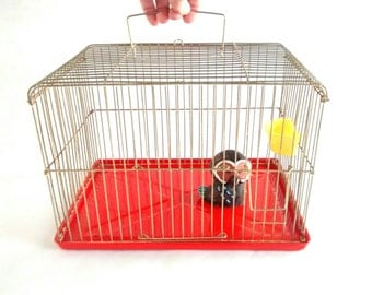 Bird Cage with Orange Bottom Metal Tray Made in Korea Vintage / Boho Chic / Wedding Decor / Farmhouse Cottage Chic