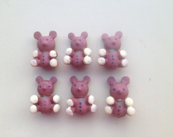 Six Vintage Teddy Bear Picks Crafting Supplies, Mixed Media Supplies-Bears