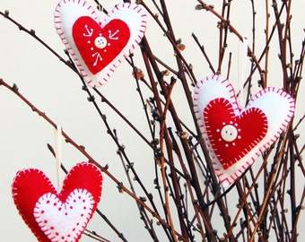 felt ornament, valentines day decor, valentines day, heart ornaments, felt hearts, valentine decorations, valentine gift, embroidery