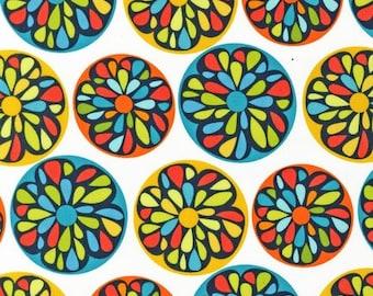Modern by Robin Zingone for Robert Kaufman - Flower Circles - Citrus - 1/2 half yard cotton quilt fabric