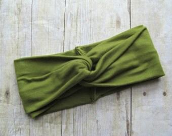 headwrap, baby headwrap,olive green Headwrap, moss green headband, twisted turban, baby headband, infant headwrap baby turban headband