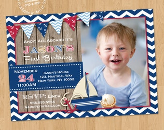 Nautical Birthday Party Photo Invitation Digital Printable or Printed, Any Wording Any Color Any Age