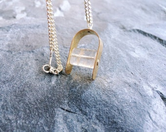 Crystal Pendant Necklace, Brass and Crystal, Long Pendant Necklace, Rutilated Quartz, Gold Tone Necklace