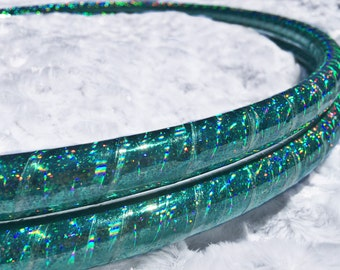 """Mermaid Sparkle Sequin HDPE or POLYPRO Performance Dance & Exercise Hula Hoop -  teal 5/8"""" 3/4"""""""
