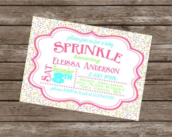 SPRINKLES Happy Birthday Party or Baby Shower Invitations Set of 12 {1 Dozen} - Party Packs Available