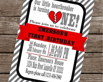 LITTLE HEARTBREAKER Birthday Party or Baby Shower Invitations Set of 12 {1 Dozen} - Party Packs Available