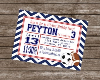LITTLE SPORT Happy Birthday Party or Baby Shower Invitations Set of 12 {1 Dozen} - Party Packs Available