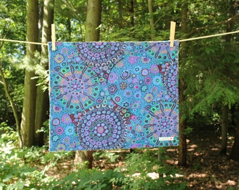 Medium Dish Drying Mat - Blue Purple Teal Lavender Fabric - by The Quilted Tulip - Kitchen