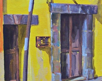 "Original art door plein air painting in San Miguel de Allende Mexican town acrylic on board 11 ""x 14"""